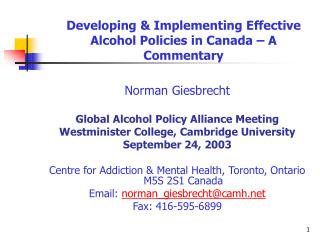 Developing & Implementing Effective Alcohol Policies in Canada – A Commentary