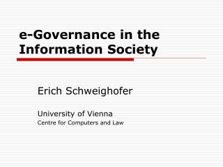 e-Governance in the Information Society