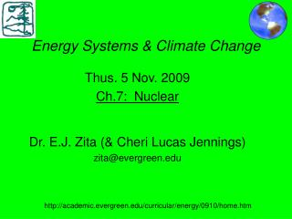 Energy Systems & Climate Change