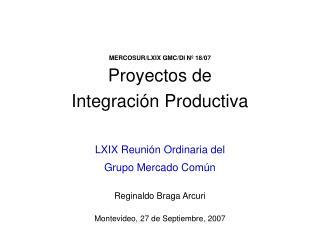 MERCOSUR/LXIX GMC/DI Nº 18/07 Proyectos de  Integración Productiva