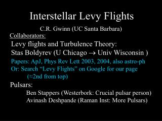 Interstellar Levy Flights