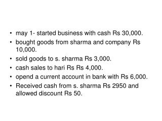 may 1- started business with cash Rs 30,000. bought goods from sharma and company Rs 10,000.