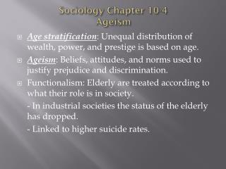 Sociology Chapter 10-4 Ageism