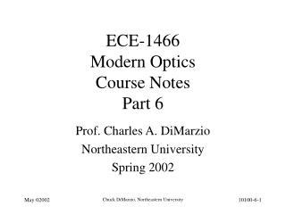 ECE-1466 Modern Optics Course Notes Part 6