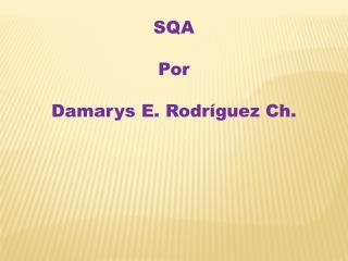 SQA Por  Damarys E. Rodríguez Ch.