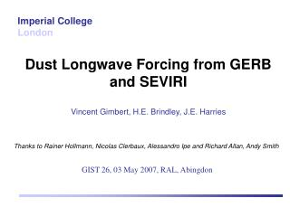 Dust Longwave Forcing from GERB and SEVIRI