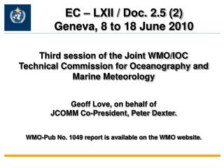 Third session of the Joint WMO/IOC Technical Commission for Oceanography and Marine Meteorology