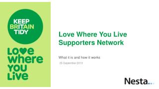 Love Where You Live  Supporters  Network