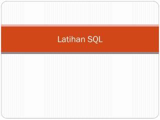 Latihan SQL