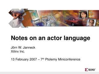 CAL Actor Language