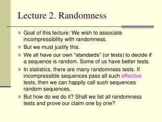 Lecture 2. Randomness