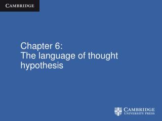 Chapter 6: The language of thought hypothesis