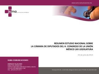 RESUMEN ESTUDIO NACIONAL SOBRE LA CÁMARA DE DIPUTADOS DEL H. CONGRESO DE LA UNIÓN