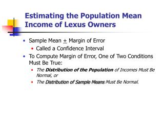Estimating the Population Mean Income of Lexus Owners