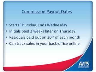 Commission Payout Dates