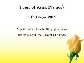 Feast of Asm á (Names)