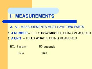 I.  MEASUREMENTS
