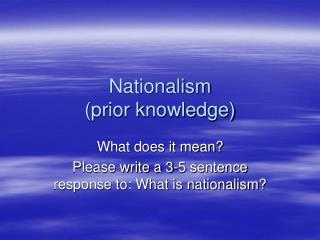Nationalism (prior knowledge)