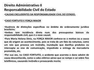 Direito Administrativo II Responsabilidade Civil do Estado