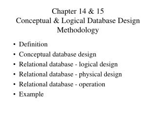 Chapter 14  15 Conceptual  Logical Database Design Methodology