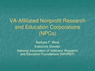 VA-Affiliated Nonprofit Research and Education Corporations NPCs