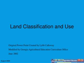 Land Classification and Use
