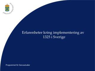 Erfarenheter kring implementering av 1325 i Sverige