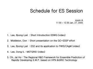 Schedule for ES Session room A 11:00  �  12:30 Jan, 27, 2005