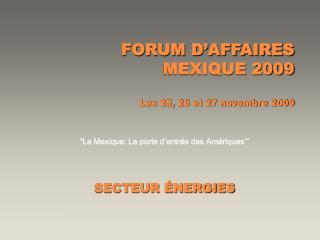 FORUM D�AFFAIRES MEXIQUE 2009 Les 25, 26 et 27 novembre 2009