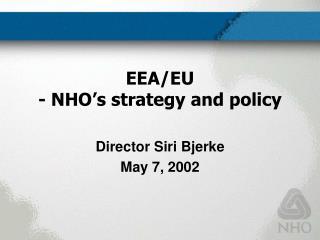 EEA/EU - NHO's strategy and policy