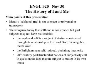 ENGL 320   Nov 30  The History of I and Me