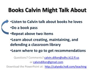 Books Calvin Might Talk About