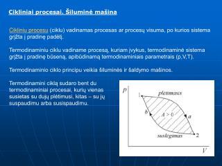 Cikliniai procesai. Šiluminė mašina