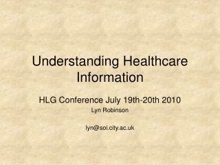 Understanding Healthcare Information