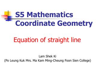 S5 Mathematics Coordinate Geometry