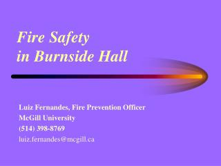 Fire Safety  in Burnside Hall