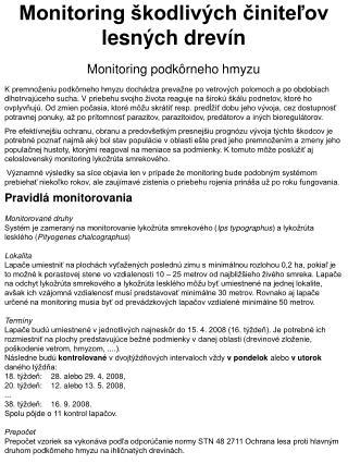 Monitoring škodlivých činiteľov lesných drevín