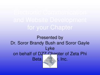 Electronic Communication and Website Development for your Chapter