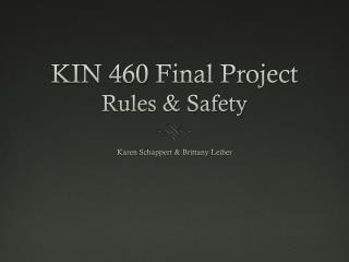 KIN 460 Final Project  Rules & Safety