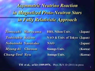 Asymmetric Neutrino Reaction  in Magnetized Proto-Neutron Stars  in Fully Relativistic Approach