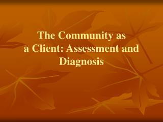 The Community as a  Client: Assessment and Diagnosis