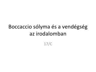 Boccaccio sólyma és a vendégség az irodalomban