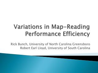 Variations in Map-Reading Performance Efficiency