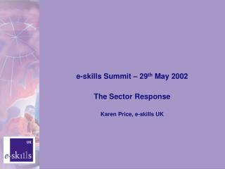 e-skills Summit – 29 th  May 2002 The Sector Response Karen Price, e-skills UK