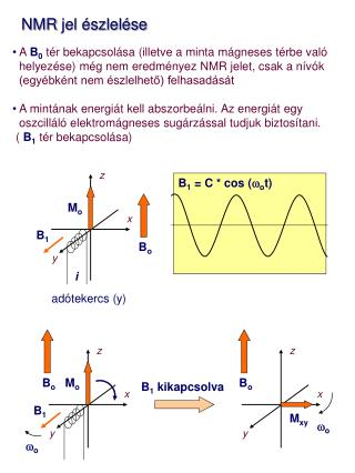 NMR  jel észlelése A  B 0  tér bekapcsolása (illetve a minta mágneses térbe való