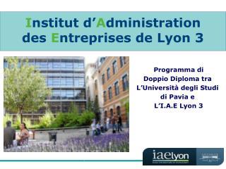 I nstitut d' A dministration des  E ntreprises de Lyon 3