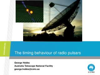The timing behaviour of radio pulsars