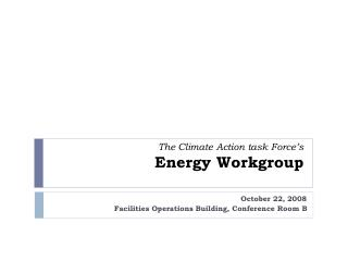 The Climate Action task Force's Energy Workgroup