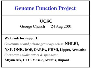 Genome Function Project