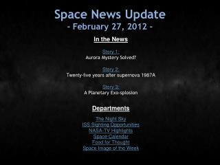 Space News Update - February 27, 2012 -